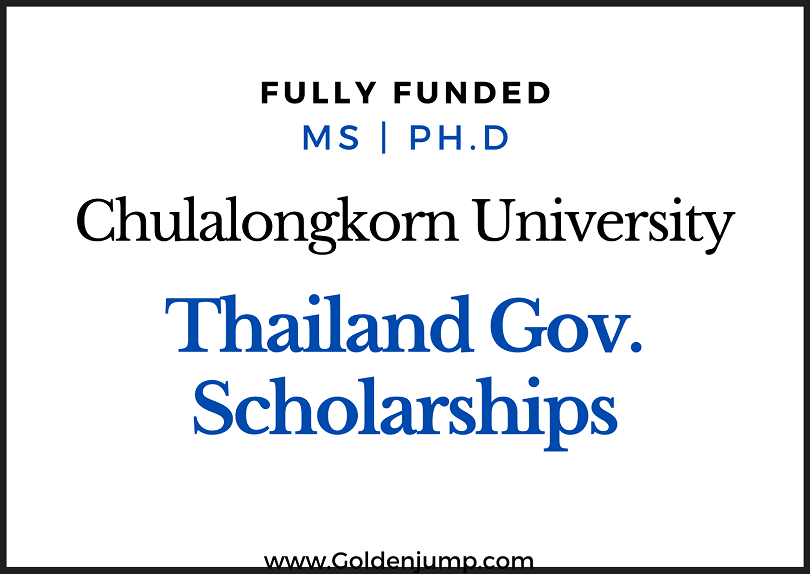 Fully Funded Thailand Scholarships 2020 Master's and Ph.D